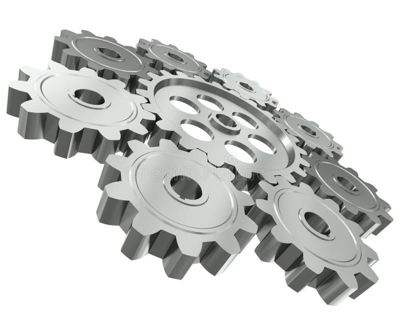 Le groupe de métal engrène - un symbole de travail d'équipe illustration libre de droits
