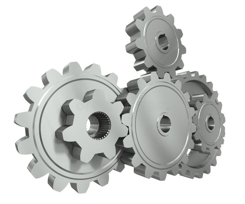 Le groupe de métal engrène - un symbole de travail d'équipe illustration de vecteur