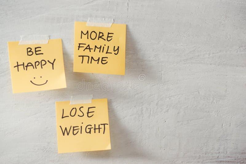 Le groupe de notes de résolution de nouvelle année sur le jaune sur le mur écrit avec le message de plus de temps de famille, per photographie stock