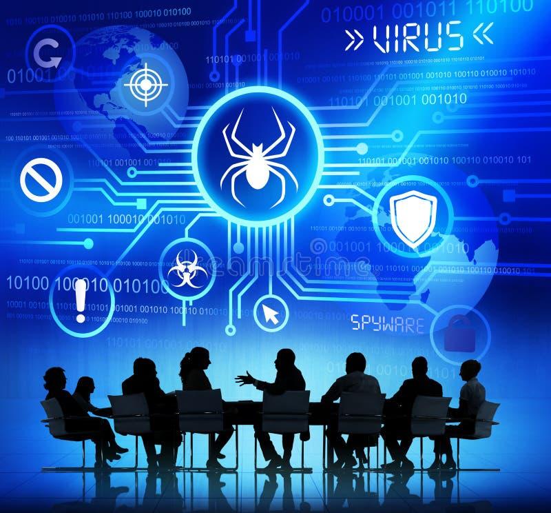 Le groupe de personnes d'entreprise ayant une réunion au sujet de menace a causé b illustration stock
