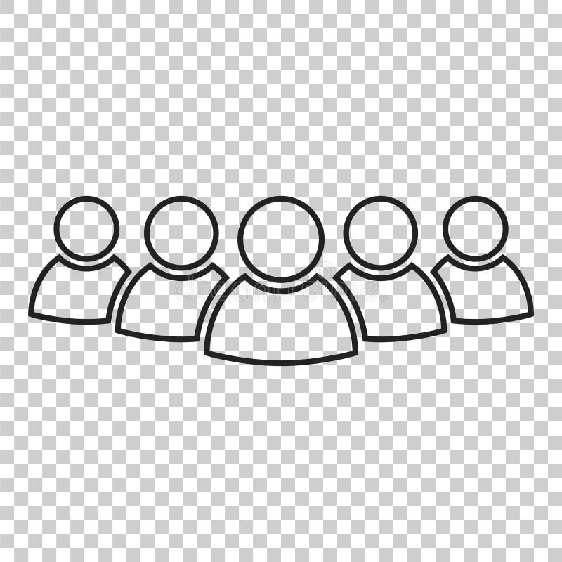 Le groupe de personnes dirigent l'icône dans la ligne style Illustra d'icône de personnes illustration stock