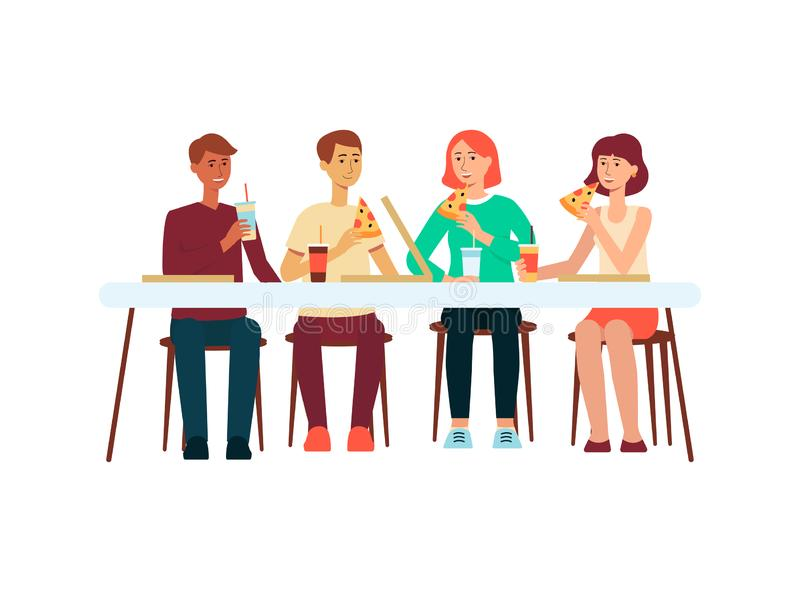 Le groupe de personnes mangeant de la pizza à l'illustration plate de vecteur de restaurant a isolé illustration stock