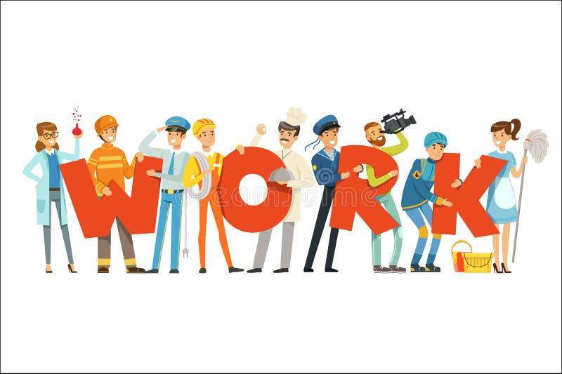 Le groupe de personnes de sourire dans l'uniforme de sport tenant le mot travaillent l'illustration colorée de vecteur de bande d illustration stock
