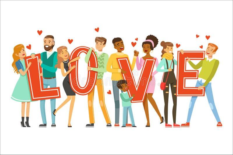 Le groupe de personnes de sourire heureuses tenant le mot aiment l'illustration colorée de vecteur de bande dessinée illustration de vecteur