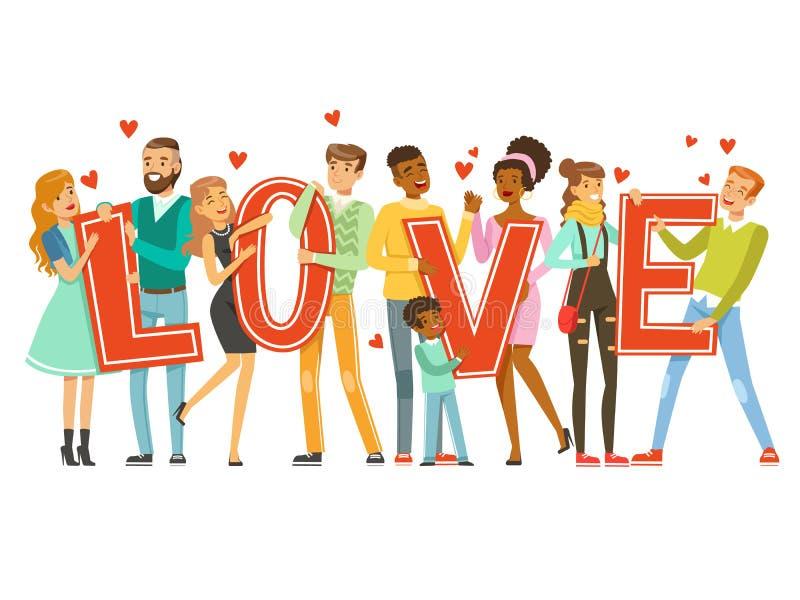 Le groupe de personnes de sourire heureuses tenant le mot aiment l'illustration colorée de vecteur de bande dessinée illustration libre de droits