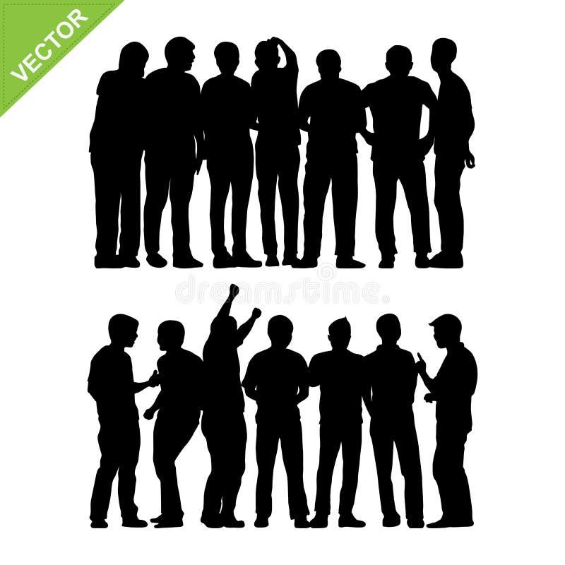 Le groupe de peuples silhouette le vecteur illustration stock