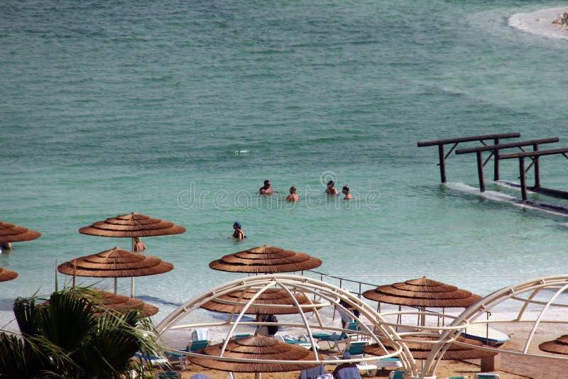 Le groupe de touristes prennent des traitements de l'eau à la mer morte image libre de droits