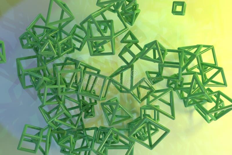 Le groupe de triangle ou de vol carr?, a enclench? Pour la conception graphique ou le fond, concepture g?om?trique 3d rendent illustration libre de droits