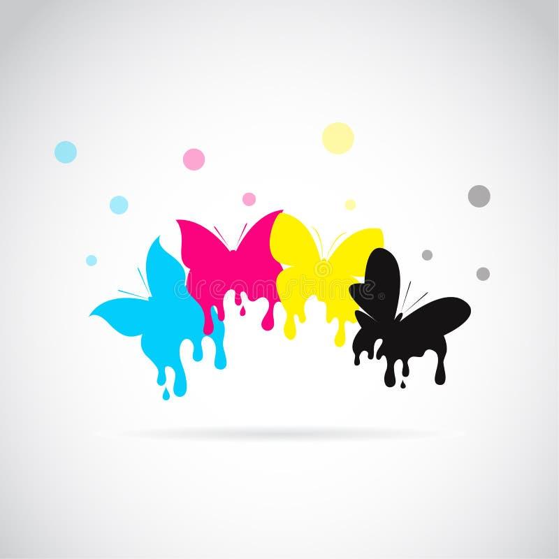 Le groupe de vecteur du papillon a coloré la copie de cmyk illustration libre de droits
