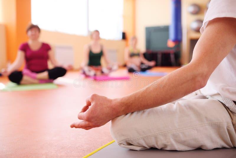 Le groupe de yoga exécute des asanas photos libres de droits