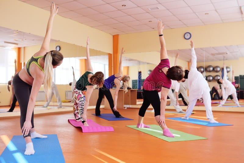 Le groupe de yoga exécute des asanas photographie stock libre de droits