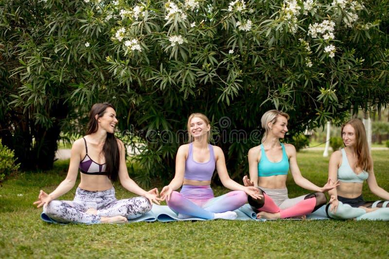 Le groupe des jeunes ont la méditation sur la classe de yoga Concept de yoga image libre de droits