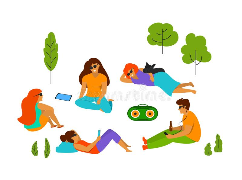 Le groupe des jeunes refroidissant en parc a isolé l'illustration de vecteur illustration stock