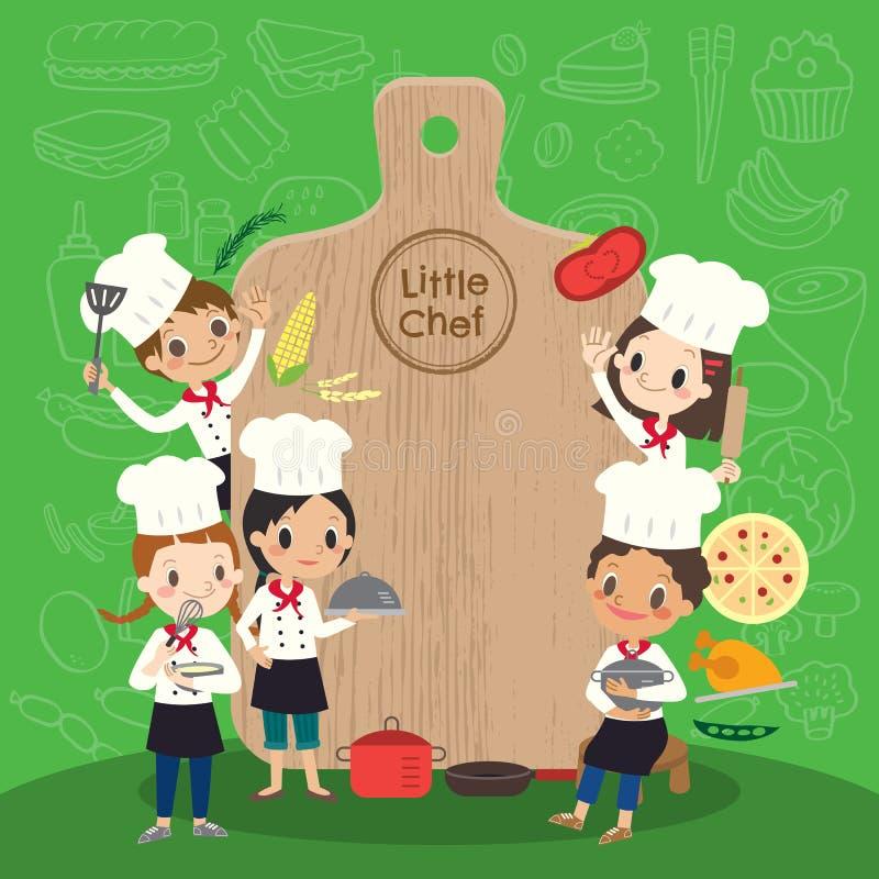 Le groupe du jeune chef avec des enfants de plaque de découpage badine l'illustration de bande dessinée illustration stock