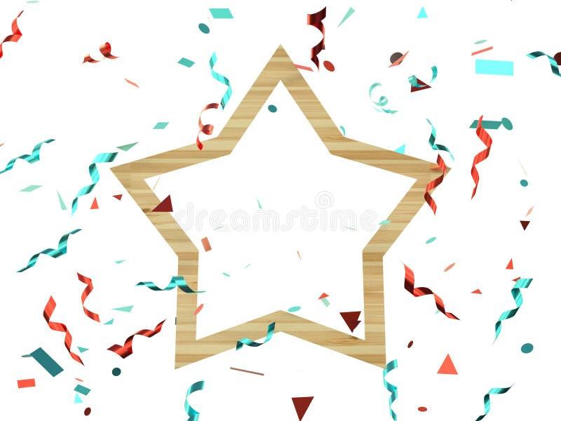 le groupe en bois géométrique de cadre de lévitation rouge 3d de ruban bleu rendent la décoration illustration stock