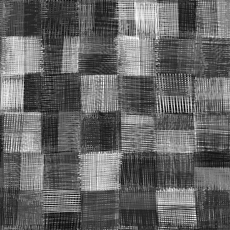 Le grunge à carreaux a barré le modèle sans couture de culpabilité en noir et blanc illustration libre de droits