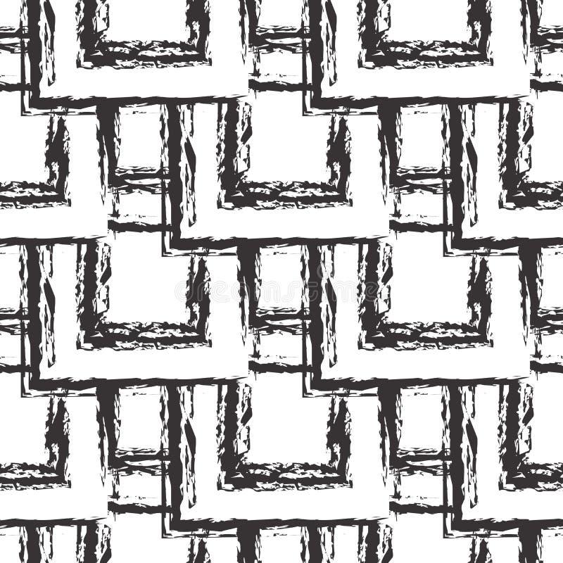 Le grunge ajuste le modèle sans couture fond carrelé noir et blanc de places Répétez le contexte sale géométrique de résumé Ligne illustration libre de droits