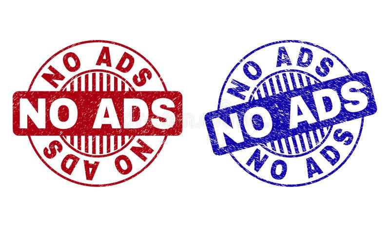 Le grunge AUCUN ADS a donné aux joints une consistance rugueuse ronds de timbre illustration de vecteur