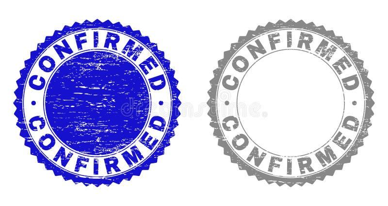 Le grunge A CONFIRMÉ les joints texturisés de timbre illustration de vecteur