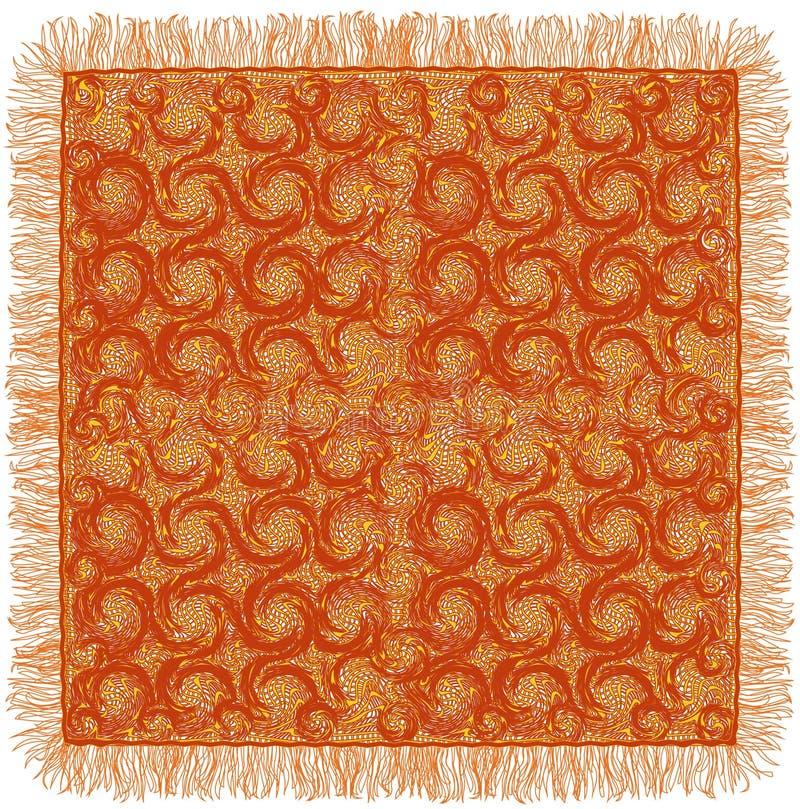 Le grunge de dentelle a barré et a tourbillonné serviette avec la frange dans des couleurs brunes et jaunes illustration stock