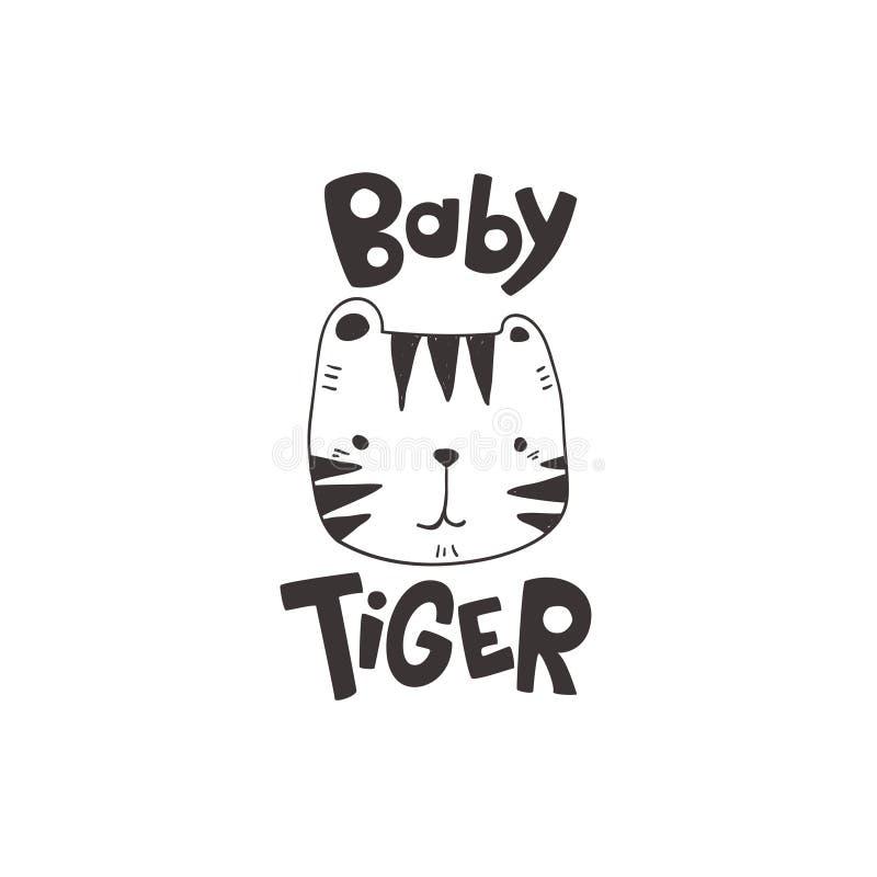 Le grunge a effectué le dessin mignon de tête de tigre comme vecteur avec le lettrage tiré par la main de tigre de bébé illustrat illustration de vecteur