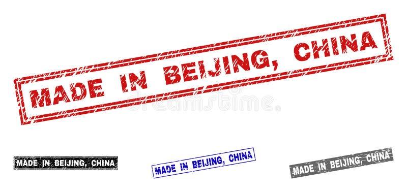 Le grunge FAIT DANS PÉKIN, CHINE a donné à des filigranes une consistance rugueuse de rectangle illustration libre de droits