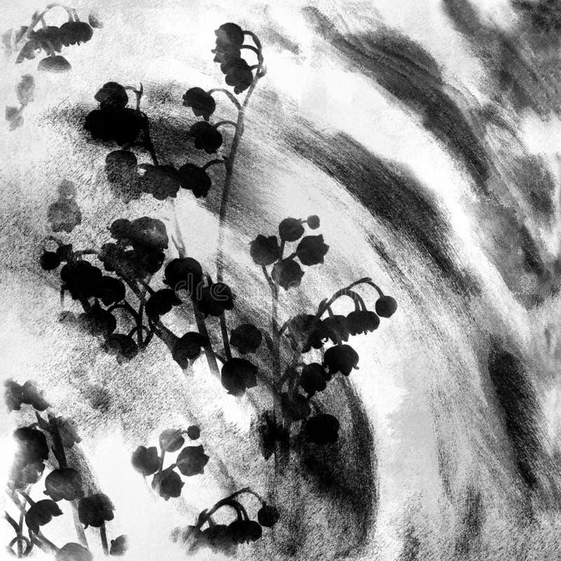 Le grunge noir et blanc floral a souillé esquisser le fond avec le muguet stylisé illustration stock