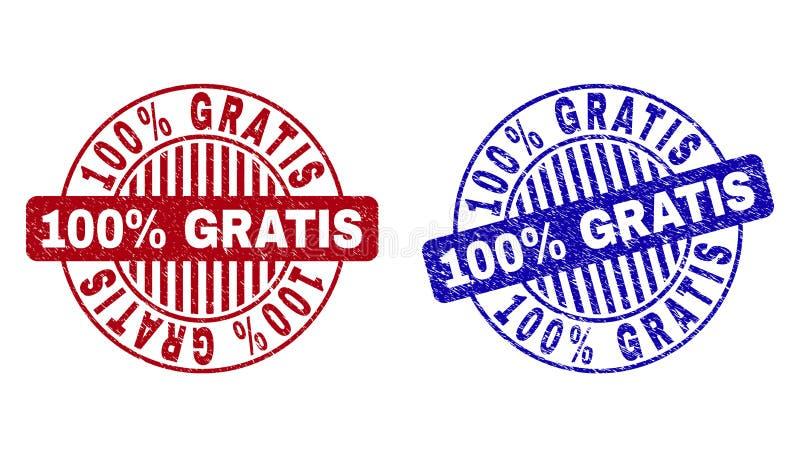 Le grunge 100 pour cent GRATUITEMENT a donn? aux timbres une consistance rugueuse ronds illustration libre de droits