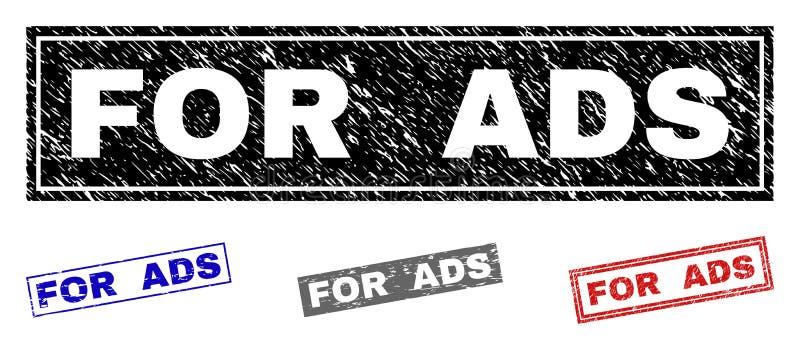 Le grunge POUR l'ADS a donné à des timbres une consistance rugueuse de rectangle illustration de vecteur