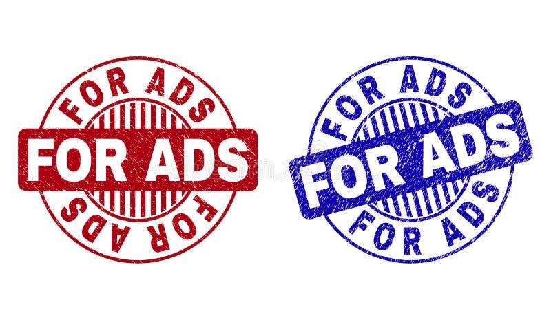 Le grunge POUR l'ADS a donné aux joints une consistance rugueuse ronds de timbre illustration stock