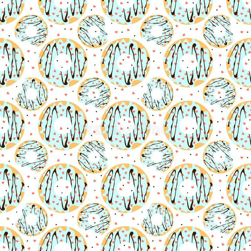 Le guarnizioni di gomma piuma con glassa blu e in forma di cuore spruzza illustrazione vettoriale