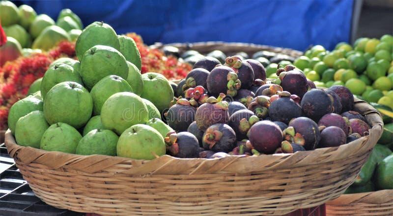 Le guayaba exotique de guaba de fruit du marché du Honduras magosteen le mangostino image stock