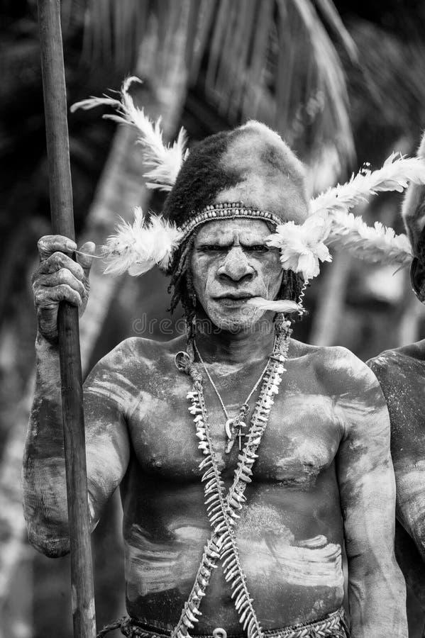 Le guerrier d'Asmat de portrait avec une peinture et une coloration traditionnelles sur un visage images libres de droits