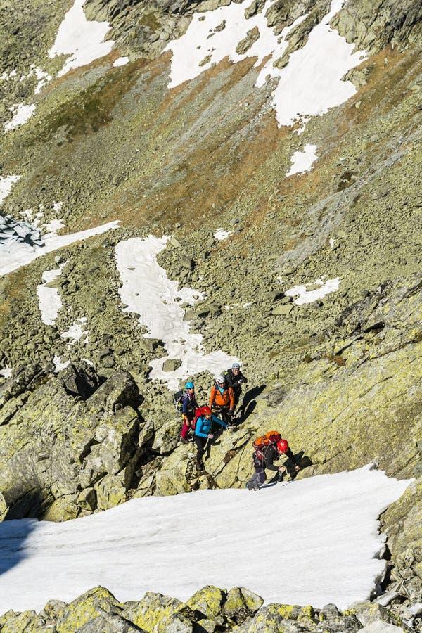 Le guide de montagne prend des mesures dans la neige photos libres de droits