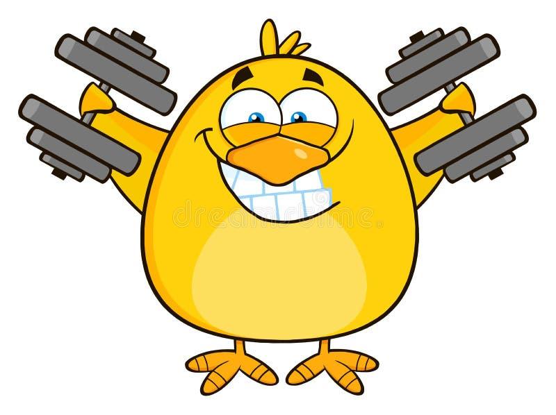 Le gula Chick Cartoon Character Training With hantlar royaltyfri illustrationer