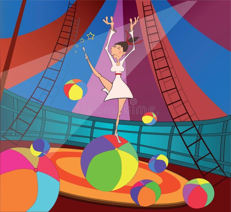 Le gymnaste et le cirque. Dessin animé illustration stock
