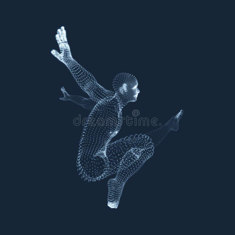 Le gymnaste exécute un élément artistique Gymnastique rhythmique - graphisme vectoriel coloré illustration libre de droits