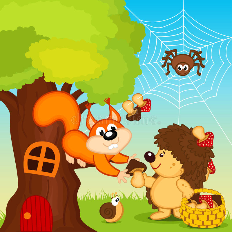 Le hérisson donne le champignon d'écureuil illustration libre de droits