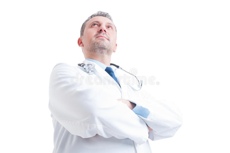 Le héros a tiré dans l'angle faible du jeune médecin ou médecin images libres de droits