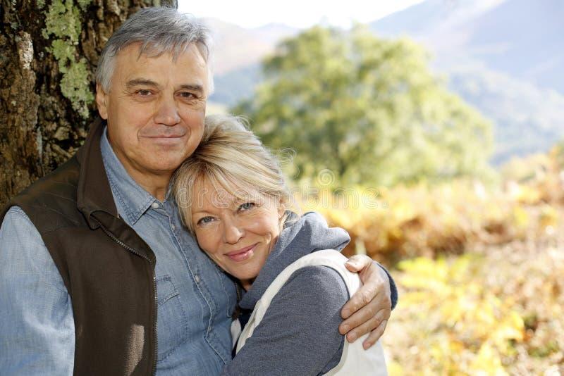 Le höga par som omfamnar i skog royaltyfri fotografi