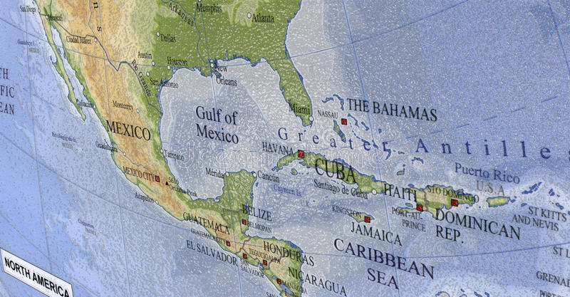 Le Haïti, Cuba, carte des Caraïbes, course du Mexique photos libres de droits