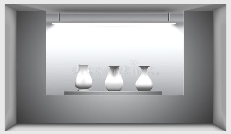 Le hall d'exposition, un support avec des amphorae antiques s'est allumé par une lampe Illustration de vecteur intérieur 3D illustration de vecteur