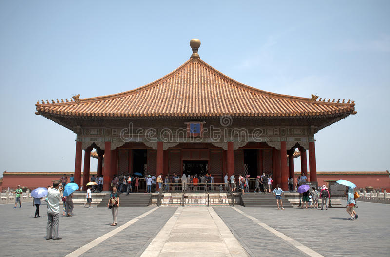 Le Hall de l'harmonie moyenne dans le Cité interdite, Pékin, Chine image stock