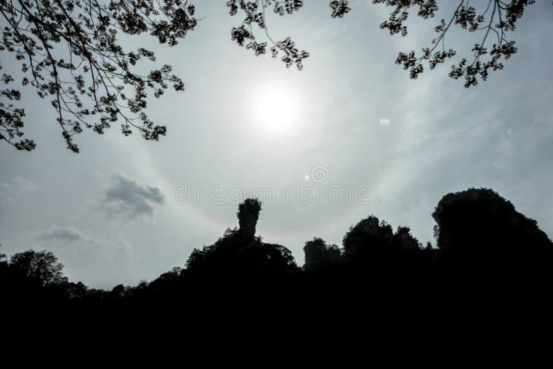Le halo indiquent bonjour dans le Yuanjiajie photographie stock libre de droits
