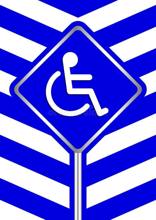 Le handicapé se connecte le cadre la rayure que bleue colore le fond, panneaux de signe d'insigne de signe de manière d'échell illustration de vecteur