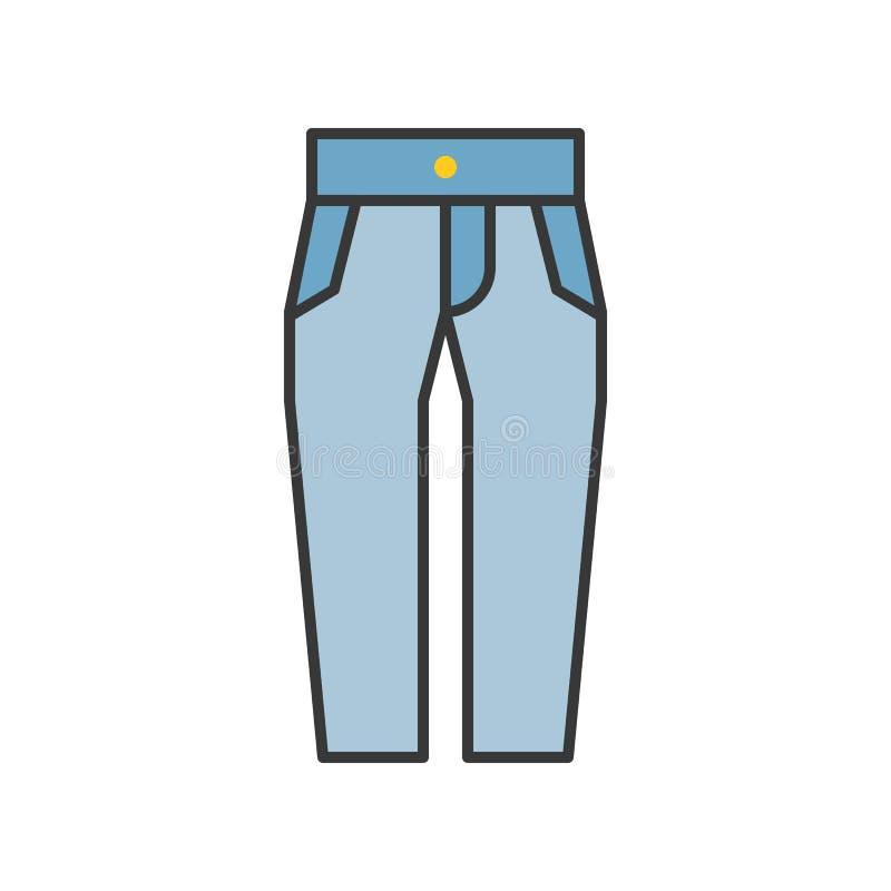 Le haut pantalon de jeans de taille, a rempli course editable d'ensemble de couleur illustration stock