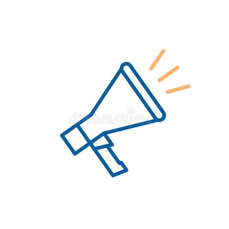 Le haut-parleur de mégaphone s'est rapporté avec la publicité, promotion, propagande, protestation, annonces illustration stock