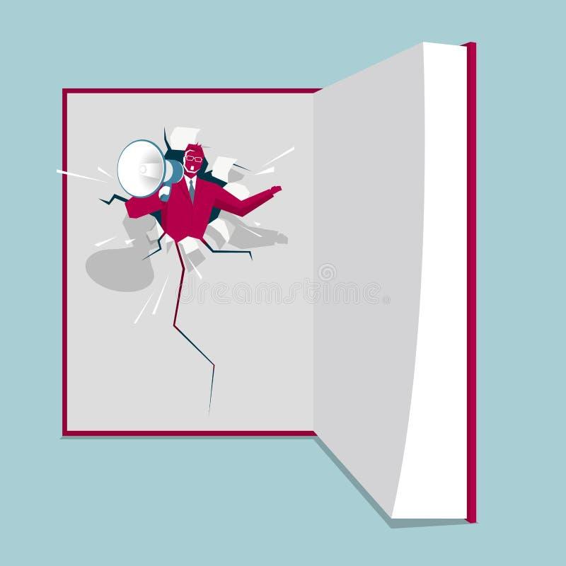 Le haut-parleur est dans le livre illustration libre de droits