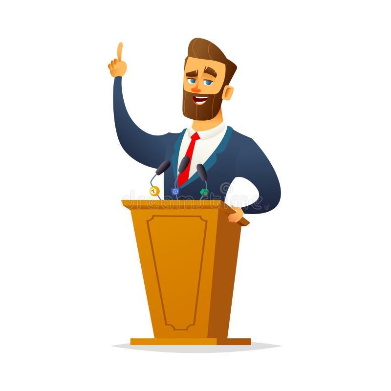 Le haut-parleur masculin charismatique barbu se tient derrière le podium et parle Designe plat de caractère de bande dessinée illustration stock