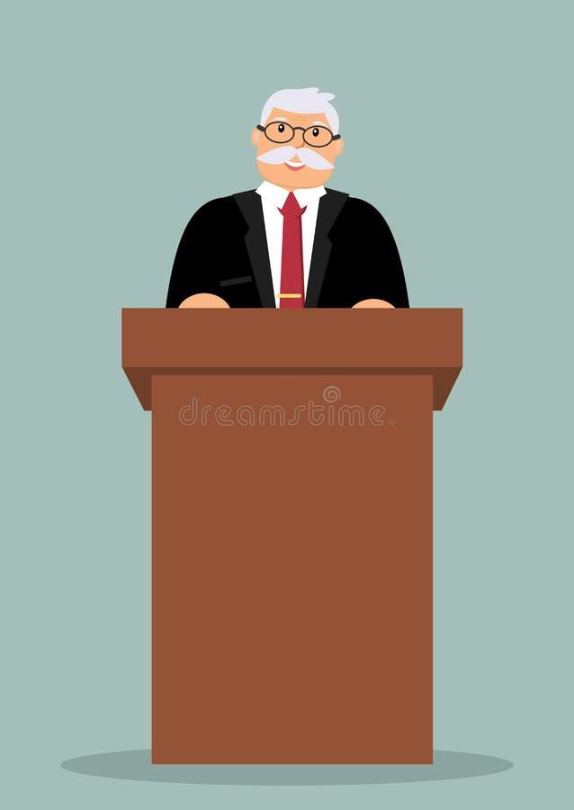 Le haut-parleur plus âgé de sourire se tient derrière le lutrin en bois brun illustration libre de droits